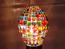 CHANDELIER GLASS BEADS LIGHT CANDLE BULB COVER CRYSTALS DROPS RETRO COLOUR SHADE