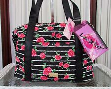Luv Betsey Johnson Floral Striped Roses Weekender Travel Luggage Duffle Bag NWT
