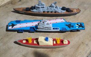 3 Vintage Tootsietoys Battleship Cargo Aircraft Carrier Collectible USA