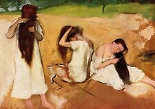 """1957 Vintage Full Color Art Plate """"Women Combing Her Hair"""" by Degas Lithograph"""