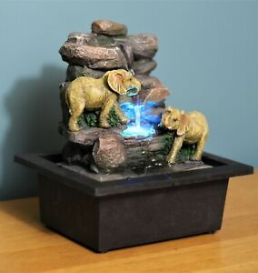 Garden Ornament Fountain Elephant  Indoor Table Top Water Feature LED Lights