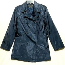 Giacca Gallery PVC Raincoat Womens Sz S Jacket Waterproof Double Breasted Lined