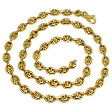 18K YELLOW GOLD SOLID MARINER CHAIN BIG 6 MM, 20 INCHES, ANCHOR ROUNDED NECKLACE