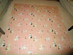 AUTHENTIC VINTAGE / RETRO / MID CENTURY SHOWER CURTAIN POODLES, PERFUME & PINK
