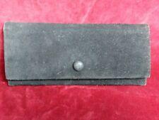 POCHETTE CROUTE DE CUIR 11X25cm VINTAGE 70 BLACK SPLIT LEATHER CLUTCH BAG WALLET