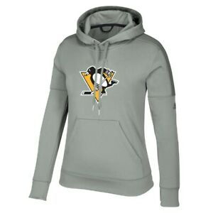 Pittsburgh Penguins NHL Adidas Women's Grey Team Issue Climawarm Pullover Hoodie