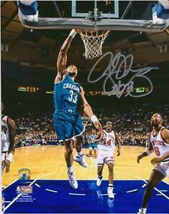 """Alonzo Mourning Charlotte Hornets Autographed 8"""" x 10"""" Dunk in Teal Photograph"""