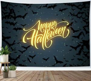 Happy Halloween Tapestry Starry Sky Bat Swarm Wall Hanging Living Room Bedroom