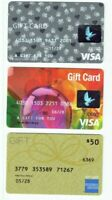 Credit Debit Charge Gift Cards - LOT of 3 / Paw Prints - Zero Balance / No Value