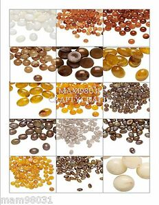Cabochon Flat Back Beads ~ ACRYLIC MARBLED Brown, White + Various Sizes & Colors