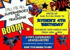 Superhero Birthday Party Invitation Batman Superman Spiderman Party Kids Party
