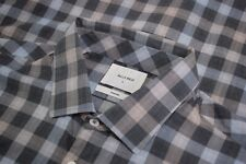 Billy Reid NWT Sport Shirt Size L Standard In Gray Tan & Blue Check