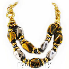 """Large Gold & Silver Tone Nugget Beads Necklace w/ Matching Earrings 18.5-21"""""""