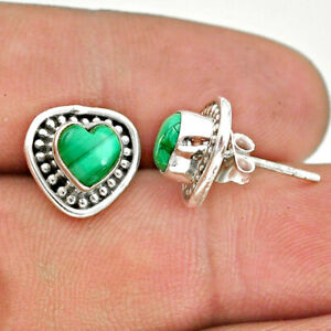 2.87cts Natural Green Malachite (pilot's Stone) 925 Silver Stud Earrings T41562