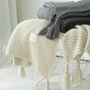 Chunky Knit Throw Large Knitted Pom Pom Warm Sofa Bed Blanket Chair Blankets UK