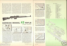 1962 2 Page Print Article of German Model 43 Rifle Parts List & Disassembly
