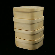 Set of 4 Wood Square Gift Boxes Storage Containers with Lids NO RESERVE