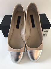 Jil Sander Nude / Silver Leather Flats, Size 40 EU