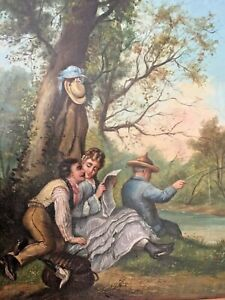 Antique 19th French oil painting, romantic scene