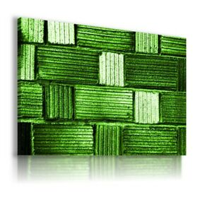 ABSTRACT GREEN WALL BRICKS CANVAS WALL ART PICTURE WS1 MATAGA UNFRAMED-ROLLED
