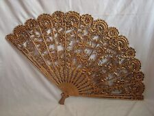 Vintage 43'' WIDE Large Mid Century Gold Gilded BURWOOD Fan Wall Decoration 4402
