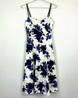 Very Very Womens Blue/White Adjustable Strap A-Line Dress Size 8