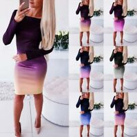 Women Casual Long Sleeve Cocktail Bandage Evening Party Club Bodycon Dress Mini