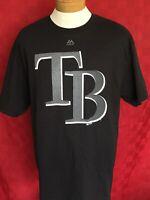NEW NWT Majestic TB Tampa Bay Rays Reflective Black shirt size XL MLB Baseball