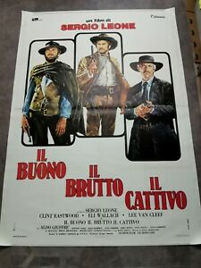 """GOOD THE BAD & THE UGLY Original Movie Poster 55x78"""" Italian LINEN BACKED LEONE"""