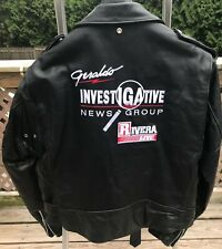 Vintage Schott Perfecto Leather Jacket Sz 48 Very Rare Geraldo Rivera Live 1990s
