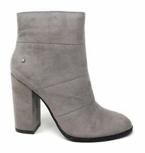 Callisto Women's Academy Side Zip Ankle Boots Grey Suede Size 7 M US