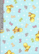 Daisy kingdom Blue Jean Teddy one two three ducks cotton poplin BTM fabric baby