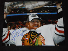 CHICAGO BLACKHAWKS BRIAN CAMPBELL SIGNED HOLDING UP STANLEY CUP 11X14