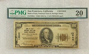 1929 U.S. Bank Of Italy S.F. $100 Currency Note - Type 1 Ch# 13044 ~ PMG 20 VF