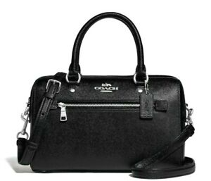 New Coach F79946 Rowan Satchel Crossgrain Leather handbag Black / Silver