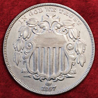 1867-P SHIELD NICKEL FIVE CENTS, WITH RAYS! HIGH GRADE! *AU+++*