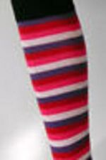 STRIPED SOCKS PINK OVER THE KNEE COTTON QUALITY AUSTRALIAN MADE FAST N FREE POST