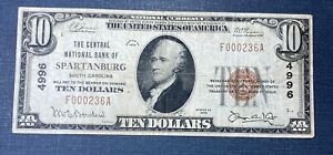 1929 $10 Central National Bank of Spartanburg Note  #4996  **Low Serial Number**