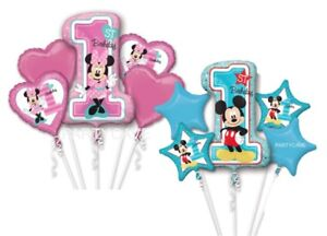 Mickey Minnie Mouse First Birthday Party Supershape Foil Bouquet Balloons