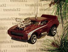 1969 CHEVY CAMARO Z28 '69 Dragster CHRISTMAS TREE ORNAMENT Burgundy White XMAS