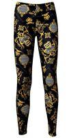 Black & Gold Baroque Animal Harlequin Floral Damask Scarf Print Fashion Leggings