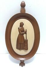 Syroco Wall Plaques Vtg Set of Two Colonial Man Musket Women Butter Churn Wall