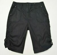 CHICO'S Size 1 Womens BLACK LINEN Stretch Back FLAP Pockets Long BERMUDA Shorts