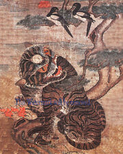 Korean Art Minhwa 민화 Tiger & magpie 8x10 Printed on Cotton Art Paper Matted fa2