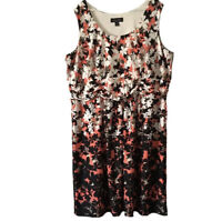 Perceptions Womens Plus Sz 3X Stretch Knit Thick Jersey Midi Dress Flowy Floral