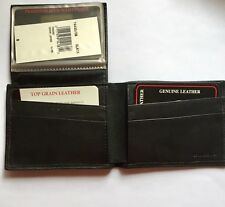 Black Leather Wallet Soft Passcase Bifold Vintage Gift Men's New Old Stock