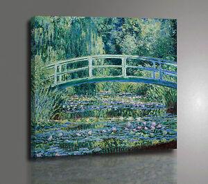 Claude Monet Ponte Giapponese Quadro Poster Stampa su Tela Vernice Pennellate