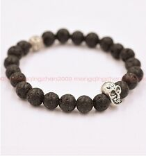 Fashion Natural Volcanic Rock Bead 8mm Tibet Silver Skull Lucky Man Bracelet