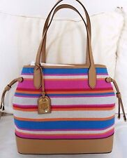 NWT Ralph Lauren Striped Canvas Leather Adalyn Large Tote $228