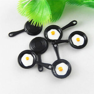 Black Tone Enamel Alloy Frying Pan Shaped Charms Pendants Findings 10pcs 51653